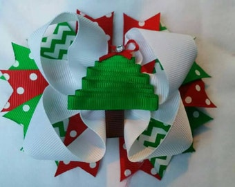 Christmas Tree Hairbow lined clipred and green
