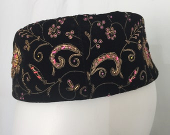 Vintage Noreen Ornamented Jeweled Pillbox Hat