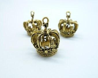 6pcs 18x22x24mm Antique Gold 3D Bigger Crown Charm Pendant c8207
