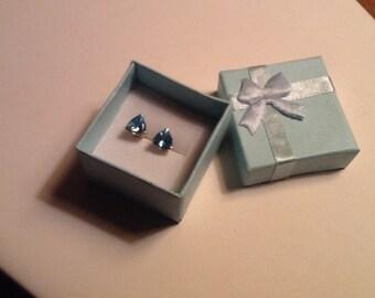Swiss Blue Topaz 14k Gold Earrings 3 Carats Triliiant Cut Gemstones Vintage Fine Jewelry