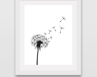 Dandelion Wall Art Dandelion Print Black and White Prints Botanical Illustration Poster Nursery Office Decor Girls Room Modern Minimalist