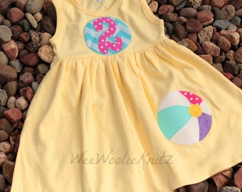 Girls Beachball Birthday Dress Personalized Summer Dress, Toddler 1st 2nd 3rd Birthday Chevron Beach Ball Cover Up