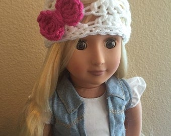 """The Ashlee Beanie in White and Hot Pink/ 18"""" Doll Hat/American Girl Doll Hat/Doll Beanie/American Girl Doll Accessory- MADE TO ORDER"""