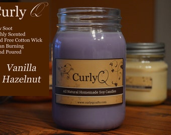 Vanilla Hazelnut 16oz Soy Candle ~ Heavily Scented!