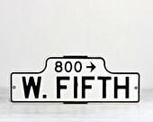 Vintage Street Sign, Porcelain Street Sign, Old Street Sign, Street Sign, Black And White Street Sign, Industrial Decor, W. Fifth Street