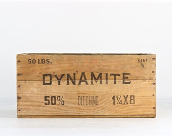 Dynamite Wood Crate, Dynamite Crate, Explosives Wood Crate, Explosives Crate, Vintage Dynamite Crate, Wood Crate, Rustic Wood Crate