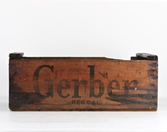 Gerber Wood Crate, Wood Crate, Rustic Wooden Crate, Old Wood Crate, Photography Prop, Baby Photography Prop, Wooden Crate, Nursery Decor