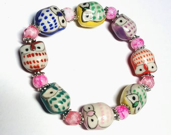 SALE Multi Coloured Rainbow Hand Painted Porcelain Spotted Owl Stretch Bracelet w/Ornate Pink Faceted Beads & White/Pink Beads FREE SHIPPING