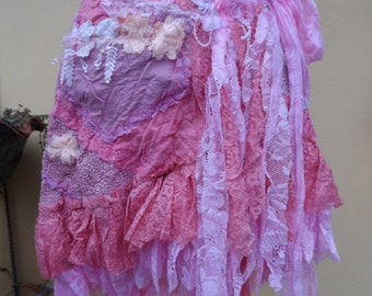 """20%OFF vintage inspired extra shabby wrap skirt/belt..a work of art 36"""" across plus ties."""