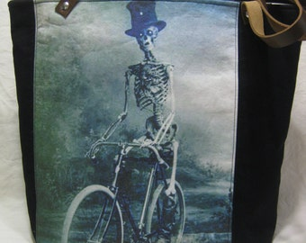 Vintage Halloween Photo Tote Bag - Skeleton on a Bicycle