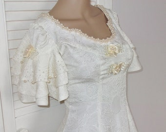 Vintage Fancy Party Wedding Dress Gown, Pearl Beads, Full Skirt, S