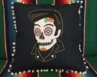 Day of the Dead Elvis Sugar Skull Embroidered Calavera in Dark Blue Denim