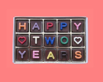 Happy Two 2 Years Anniversary Gift for Girlfriend Boyfriend Love Second 2nd Anniversary Gift for Her Him Woman Her Chocolate Jelly Bean Cube