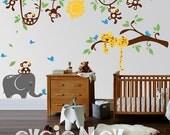 Sleeping Leopard and Monkeys Children  - Nursery Decals, Baby Nursery Decal and Baby Nursery Wall Sticker -  PLMC020  - NEW DESIGN