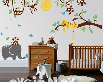 Sleeping Leopard and Monkeys Children  - Nursery Decals, Baby Nursery Decal and Baby Nursery Wall Sticker -  PLMC020  - NEW DESIGN