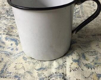 Vintage baby white Enamel mug planter