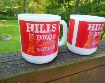 Hills Bros Coffee Mugs, A Pair of Milk Glass Advertising Coffee Mugs