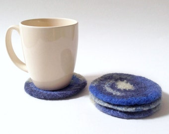 Felted Wool Coasters - Circle Coasters / Hot or Cold Coaster / Blue / Blue Jean / Navy / Hostess Gift / Housewarming Gift - READY TO SHIP