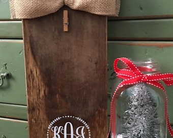 Handmade rustic wood frame with Monogram