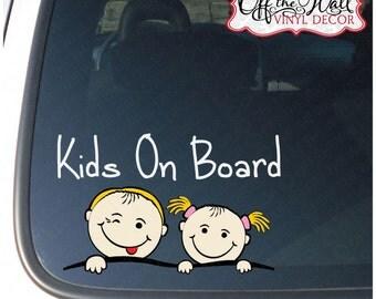 "Boy & Girl ""KIDS ON BOARD"" Sign Vinyl Car / Truck / Vehicle Decal Sticker"