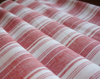 Pure  linen fabric with red & white stripes--Natural--Fine--Linen