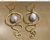 20 off. Swirly pearl drop earrings in gold with coin teardrop shaped pearl