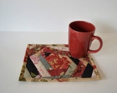 Crazy Quilted Mug Rug, Quilted Cotton coasters,  coworker gift, Mini Placemat, Mug Mat