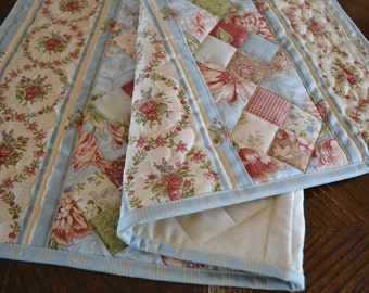 Quilted Table Runner, Serenity Blue Patchwork, Moda Blackbird Designs Fabric