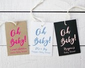 Baby Shower Tags - Oh Baby Design - Baby Favor Tags | Custom Favor Tags | Personalized Favor Tags | Favor Hang Tags - Set of 18