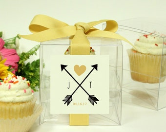 8 - Wedding Favor Cupcake Boxes - Arrow Design - ANY COLOR - wedding favors, party favors, wedding cupcake box, personalized cupcake box