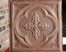 """Antique Ceiling Tile -- 12"""" x 12"""" -- Rusty Metal Patina - Deeply Embossed with a Pretty Design"""