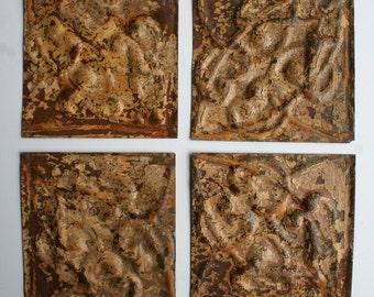 Genuine Antique Ceiling Tin -- 6 inch Tiles --  Crafts, Backsplashes, Birdhouses -- E19