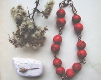 Mountain Ash Bracelet, Dark Red Boho Bracelet, Gemstone Bracelet, Bohemian Jewelry, Boho Red Bracelet
