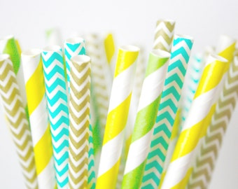 Pineapple Paper Straws, Tropical Beach Pineapple Party Decor,  Buffet Table Decor, Luau Decorations