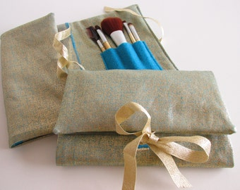 Cosmetics Organizer in Gold - Turquoise - Make Up Wrap - Travel Cosmetics Wrap - Gift Idea - Bridesmaids Gifts