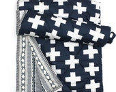 LARGE CROSSES- White Navy Baby Blanket - Baby Blanket -crib quilt-  Baby boy blanket -Crib baby comforter