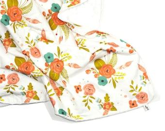 Minky baby blanket - FLORAL - minky blanket - Peach Mint