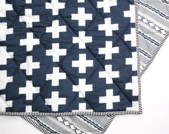 LARGE CROSSES - QUICK ship item - Baby Blanket - Navy White Toddler Comforter - Baby Crib Blanket - Modern Crib Bedding