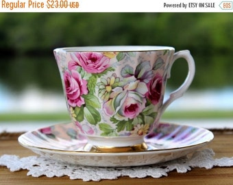 Chintz Tea Cup and Saucer - Allyn Nelson Teacup - Made in England 13650