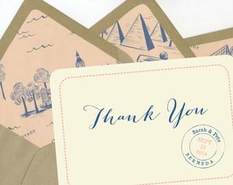 BOX OF 12 Bon Voyage Thank You Notes