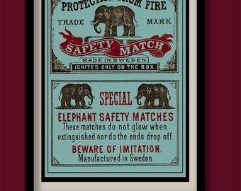 Elephant poster. Vintage matchbox label print. A3 size. Matchbox art. Label art . Elephant art print. Vintage label. Animal art print