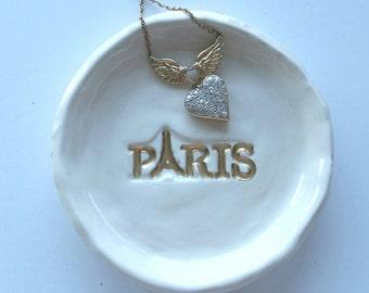 Paris Trinket Dish Ceramic with Gold Wedding Tea Bag Holder Ring Dish Soap Dish Home Decor