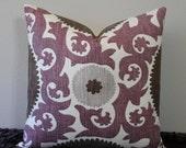 "Fahri Grape Suzani Print - 18"", 20"" or 22"" x 22"" Basket Weave Decorative Designer Pillow Cover"