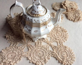 Antique French Doilies - Set of Five(5)-French Tea Stained Cotton-Hand Crochet Table Runner