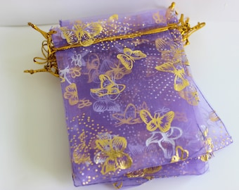 """Purple and Gold Organza Bags Butterfly Print 3.5"""" x 4.5""""  Favor Bags 20+ Weddings / Party Favors / Jewelry Bags / Trade Shows"""