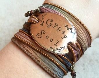 GYPSY SOUL Boho Silk Wrap Bracelets- Silk Ribbon Bracelet- Wrap bracelet- gypsy bracelets- BOHO, bohemian, boho jewelry