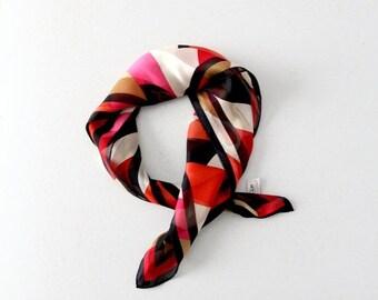 SALE Oscar de la Renta silk scarf, vintage 70s print scarf