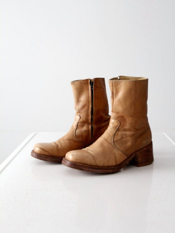 s half boot vintage leather zip side ankle boots size