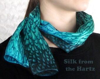 Elegant Silk Satin Teal/Turquoise Scarf for Women