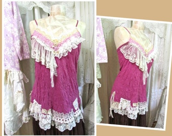 LARGE Pink Lace Camisole, shabby cottage chic romantic lace top,delicate demure ladies top, LARGE